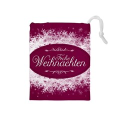 Christmas Card Red Snowflakes Drawstring Pouches (medium)  by Celenk