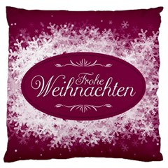 Christmas Card Red Snowflakes Standard Flano Cushion Case (one Side) by Celenk