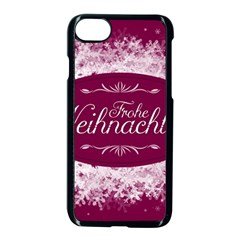 Christmas Card Red Snowflakes Apple Iphone 8 Seamless Case (black) by Celenk