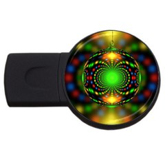 Christmas Ornament Fractal Usb Flash Drive Round (2 Gb) by Celenk
