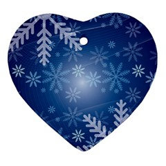Snowflakes Background Blue Snowy Ornament (heart) by Celenk