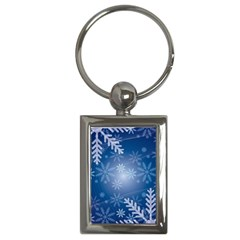 Snowflakes Background Blue Snowy Key Chains (rectangle)  by Celenk