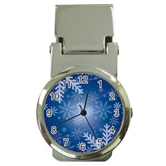 Snowflakes Background Blue Snowy Money Clip Watches by Celenk