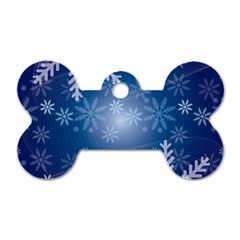 Snowflakes Background Blue Snowy Dog Tag Bone (two Sides) by Celenk