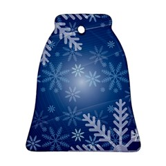 Snowflakes Background Blue Snowy Ornament (bell) by Celenk
