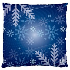 Snowflakes Background Blue Snowy Large Cushion Case (two Sides) by Celenk