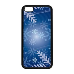Snowflakes Background Blue Snowy Apple Iphone 5c Seamless Case (black) by Celenk