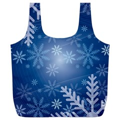 Snowflakes Background Blue Snowy Full Print Recycle Bags (l)  by Celenk