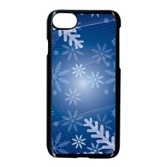 Snowflakes Background Blue Snowy Apple Iphone 8 Seamless Case (black) by Celenk