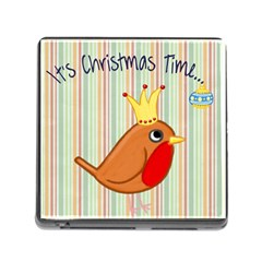 Bird Christmas Card Blue Modern Memory Card Reader (square) by Celenk
