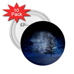 Winter Wintry Moon Christmas Snow 2 25  Buttons (10 Pack)  by Celenk