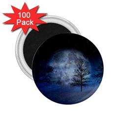 Winter Wintry Moon Christmas Snow 2 25  Magnets (100 Pack)  by Celenk
