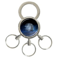 Winter Wintry Moon Christmas Snow 3 Ring Key Chains by Celenk