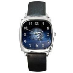 Winter Wintry Moon Christmas Snow Square Metal Watch by Celenk