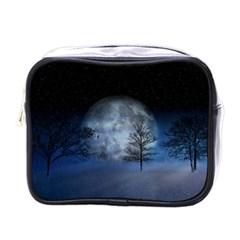 Winter Wintry Moon Christmas Snow Mini Toiletries Bags by Celenk