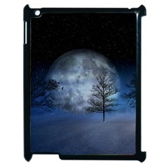 Winter Wintry Moon Christmas Snow Apple Ipad 2 Case (black) by Celenk