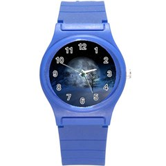 Winter Wintry Moon Christmas Snow Round Plastic Sport Watch (s) by Celenk