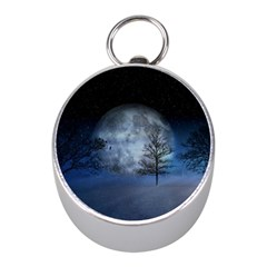 Winter Wintry Moon Christmas Snow Mini Silver Compasses by Celenk