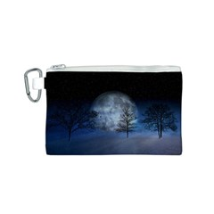 Winter Wintry Moon Christmas Snow Canvas Cosmetic Bag (s) by Celenk