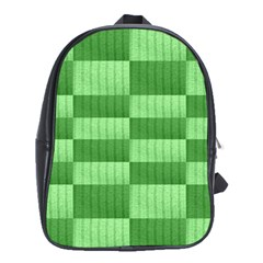 Wool Ribbed Texture Green Shades School Bag (xl) by Celenk