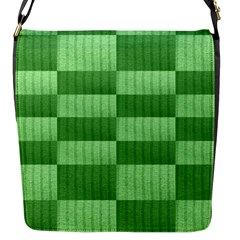 Wool Ribbed Texture Green Shades Flap Messenger Bag (s) by Celenk