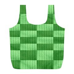 Wool Ribbed Texture Green Shades Full Print Recycle Bags (l)  by Celenk
