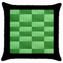 Wool Ribbed Texture Green Shades Throw Pillow Case (black) by Celenk
