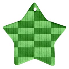 Wool Ribbed Texture Green Shades Star Ornament (two Sides) by Celenk