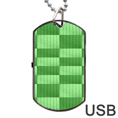 Wool Ribbed Texture Green Shades Dog Tag Usb Flash (two Sides) by Celenk