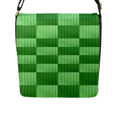 Wool Ribbed Texture Green Shades Flap Messenger Bag (l)  by Celenk