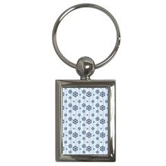 Snowflakes Winter Christmas Card Key Chains (rectangle)  by Celenk