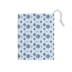 Snowflakes Winter Christmas Card Drawstring Pouches (medium)  by Celenk