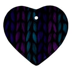Background Weave Plait Blue Purple Heart Ornament (two Sides)