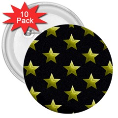 Stars Backgrounds Patterns Shapes 3  Buttons (10 Pack)  by Celenk