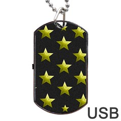 Stars Backgrounds Patterns Shapes Dog Tag Usb Flash (one Side) by Celenk