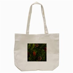 Branch Christmas Cone Evergreen Tote Bag (cream) by Celenk