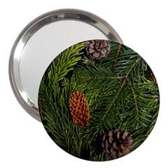 Branch Christmas Cone Evergreen 3  Handbag Mirrors by Celenk