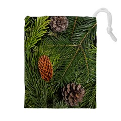 Branch Christmas Cone Evergreen Drawstring Pouches (extra Large) by Celenk