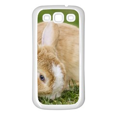 Beautiful Blue Eyed Bunny On Green Grass Samsung Galaxy S3 Back Case (white) by Ucco