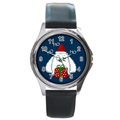 Yeti Xmas Round Metal Watch by Valentinaart