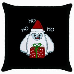 Yeti Xmas Throw Pillow Case (black) by Valentinaart