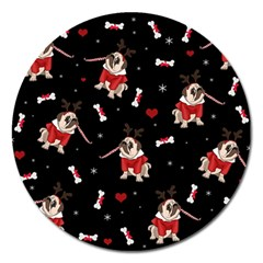 Pug Xmas Pattern Magnet 5  (round) by Valentinaart