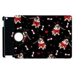 Pug Xmas Pattern Apple Ipad 2 Flip 360 Case by Valentinaart