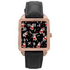 Pug Xmas Pattern Rose Gold Leather Watch  by Valentinaart