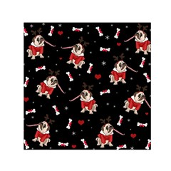 Pug Xmas Pattern Small Satin Scarf (square) by Valentinaart