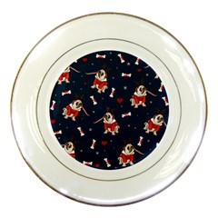 Pug Xmas Pattern Porcelain Plates by Valentinaart