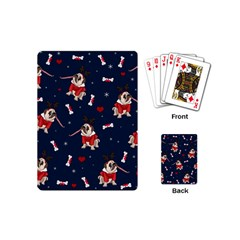 Pug Xmas Pattern Playing Cards (mini)  by Valentinaart