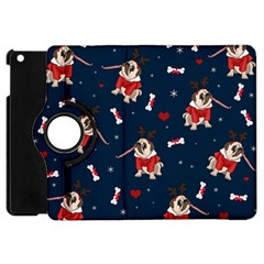 Pug Xmas Pattern Apple Ipad Mini Flip 360 Case by Valentinaart