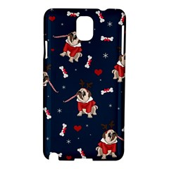 Pug Xmas Pattern Samsung Galaxy Note 3 N9005 Hardshell Case by Valentinaart