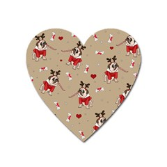 Pug Xmas Pattern Heart Magnet by Valentinaart